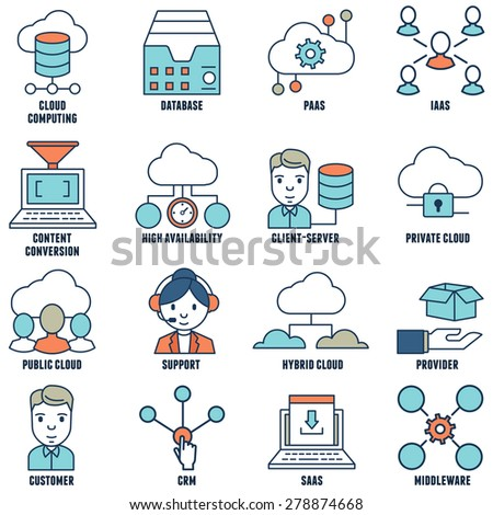 Set of flat linear cloud computing icons - part 1 - vector icons - stock vector