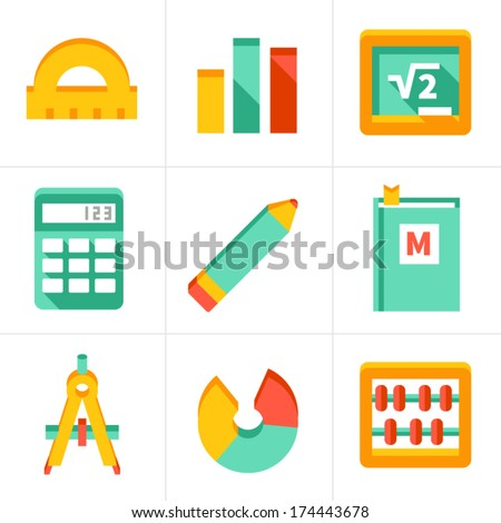 set of flat maths icons. isolated on white - stock vector