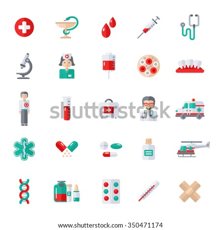 Set of Flat Medical Icons. Vector Illustration. Nurse and Doctor, Caduceus Symbol, Ambulance Car, Helicopter, Blood Cells, Blood Bag, Blood Donation, Medical Laboratory, Pharmacy Pills and Drugs