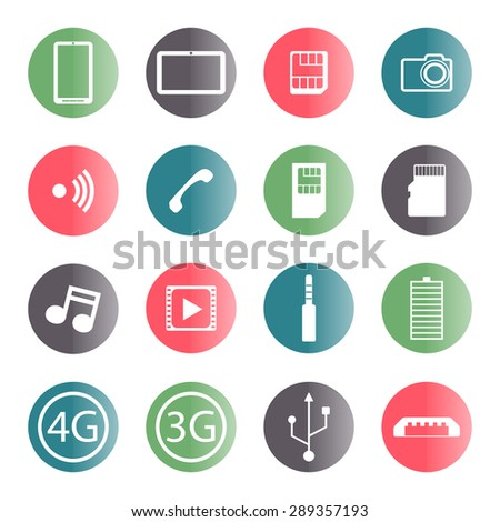 Set of flat mobile icons isolated on white background, vector illustration.