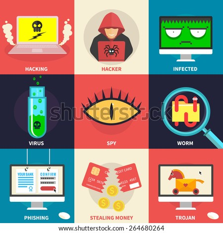 Set of flat modern icons - hacking, hacker, malware, identity theft, stealing money. Design elements for web, mobile applications, infographics. - stock vector   - stock vector