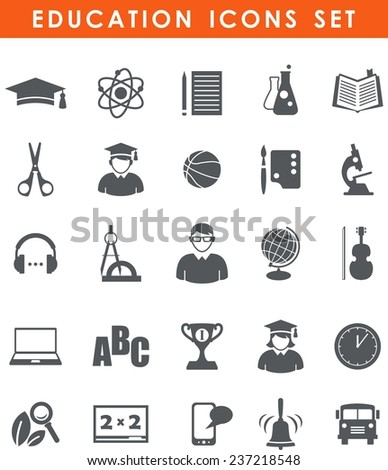 Set of flat monochrome school and education icons - stock vector