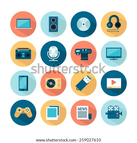 set of flat multimedia icons, vector illustration - stock vector