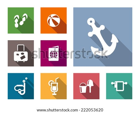 Set of flat nautical themed travel and vacation icons with slip slops, beach ball, suitcase, passport, snorkel, cocktail, kids spade, bucket and anchor - stock vector