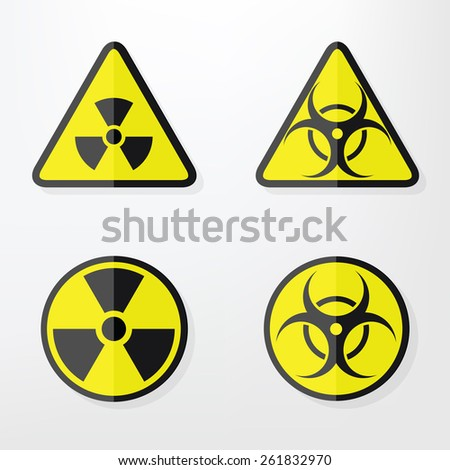 Set of  flat paper Triangular and Round Warning Hazard Signs - stock vector