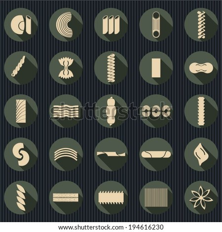Set of flat pasta shapes icons. - stock vector