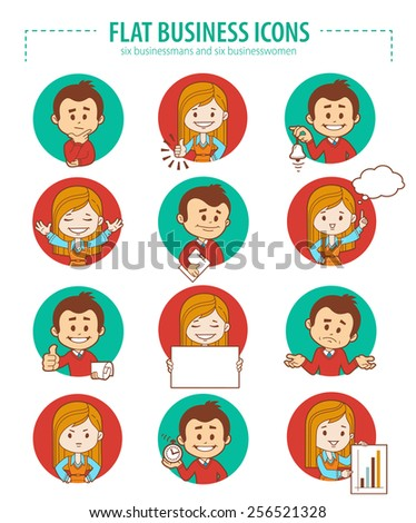 Set of flat people business icons. Vector illustration - stock vector