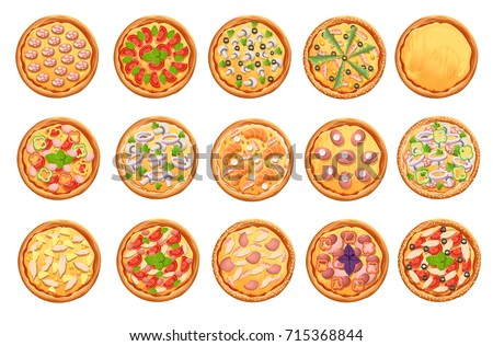 Set of flat pizza icons isolated on white Pizza top view set. Web site page and mobile app design vector element