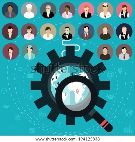 Set of flat professional people icons. Business teamwork symbols. - stock vector