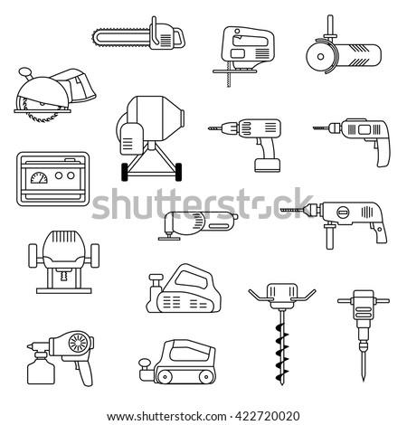 Set of flat repair tool icons. Home repair tools pictogram. Worker tools. Electric tools. Tools sign. Vector illustration. - stock vector