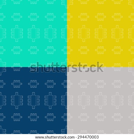 Set of flat repeating pattern with chair and table signs texture. Seamless modern furniture texture. EPS10 vector illustration