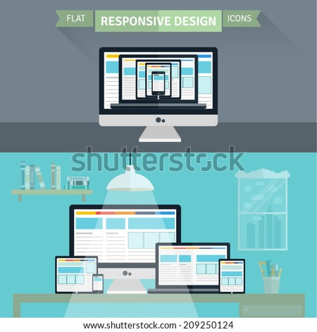 Set of flat responsive design illustration. Concept icons for responsive web design, Web design and development, SEO, services and apps. - stock vector