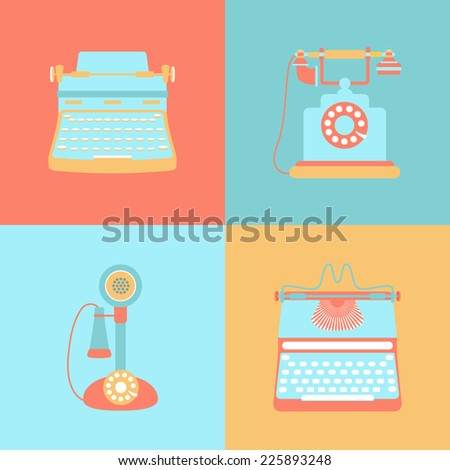 Set of flat retro icons - stock vector