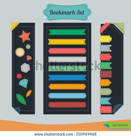 Set of flat ribbons bookmark. - stock vector