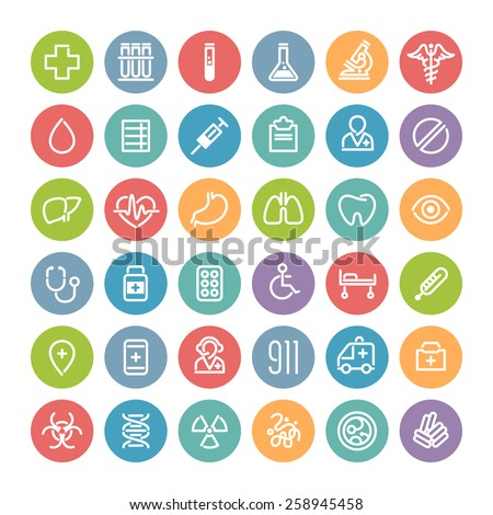 Set of Flat Round Icons for Medical Design. Isolated on White Background. - stock vector