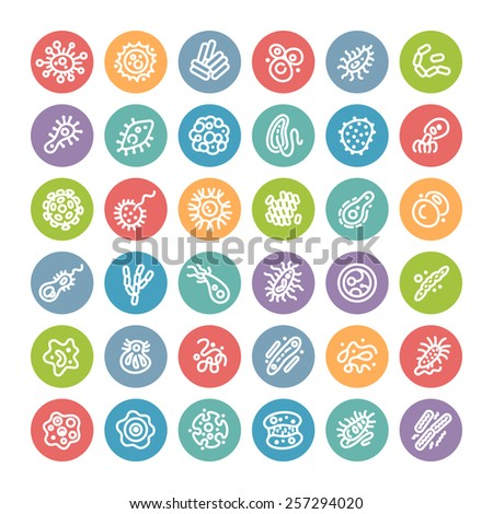 Set of Flat Round Icons with Bacteria and Germs for Medical Design. Isolated on White Background. - stock vector