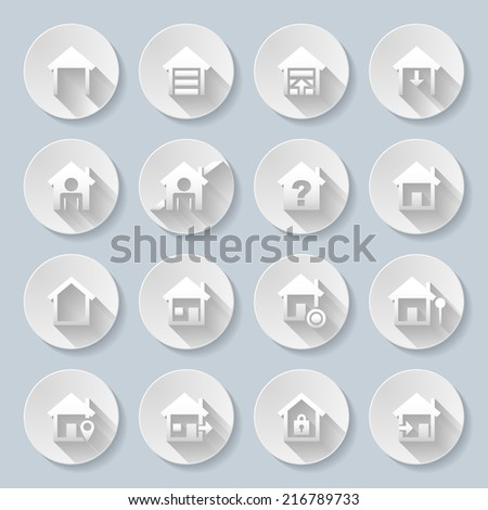 Set of flat round  icons  with houses  on  gray background