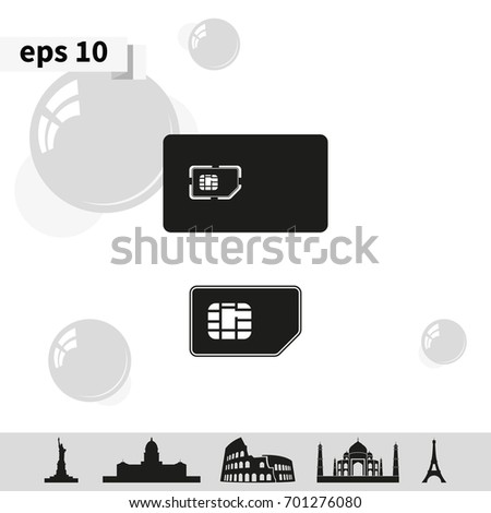 Set of flat sim card and case illustration.