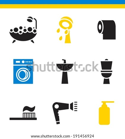 Set of flat simple web icons (bathroom, restroom, WC, toilet), vector illustration - stock vector