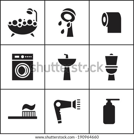 Set of flat simple web icons (bathroom, restroom, WC, toilet), vector illustration. Icons for house remodel - stock vector