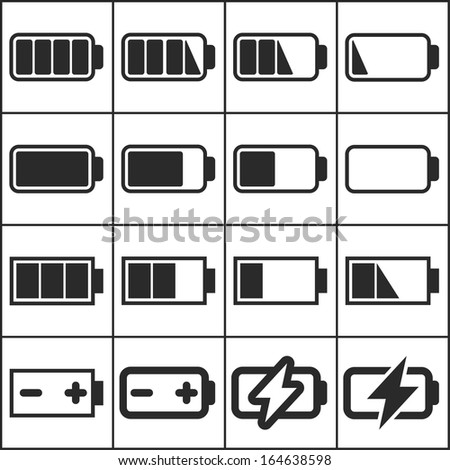 Set of flat simple web icons (charge level indicators, batteries, accumulators ), vector illustration - stock vector