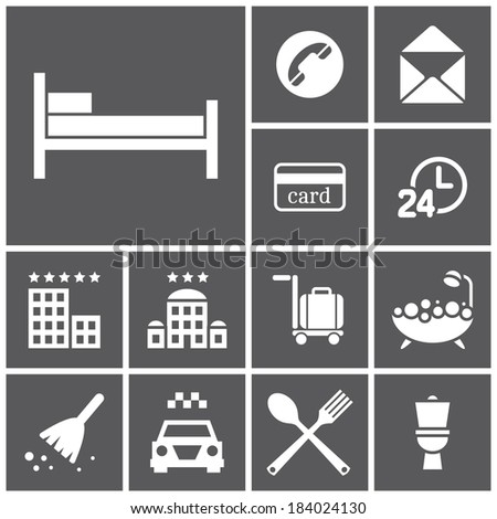 Set of flat simple web icons (hotel, rooming), vector illustration - stock vector