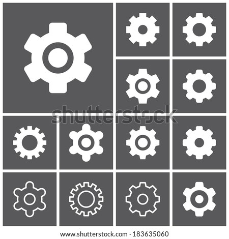 Set of flat simple web icons (settings, gears, options, preferences), vector illustration - stock vector