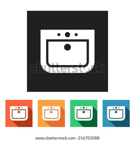 Set of flat simple web icons (sink, wash-basin, washbowl), vector illustration - stock vector