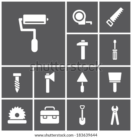 Set of flat simple web icons (tools, construction, building, production, manufacture), vector illustration - stock vector