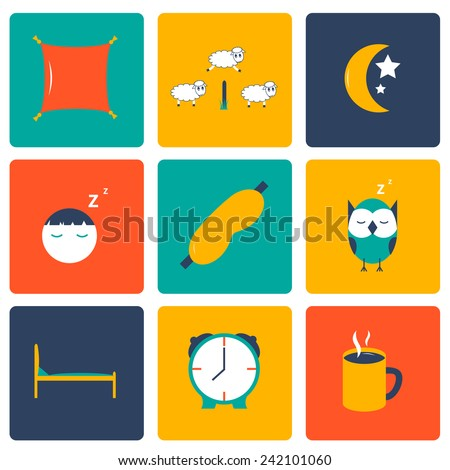 Set of flat sleep icons for your design - stock vector