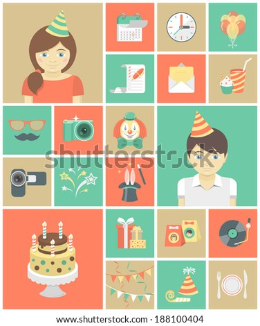 Set of flat square icons of kids birthday party - stock vector