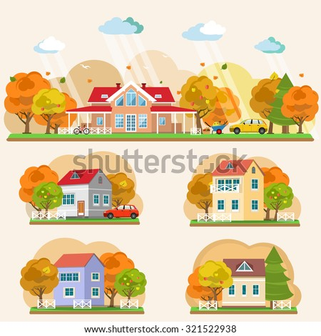 Set of flat style autumn landscapes. Vector illustration - stock vector