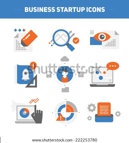 Set of flat style concepts of starting new business, developing growth strategy, launching project, analyzing business results. - stock vector
