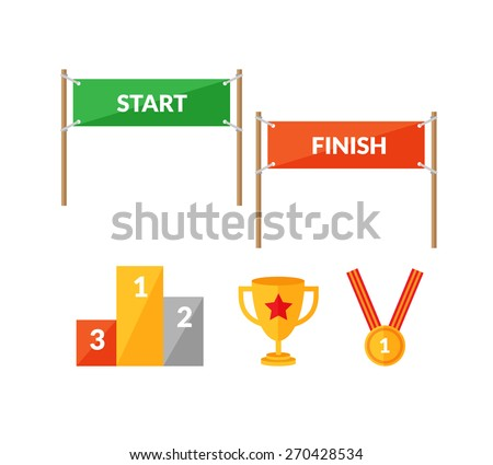 Set of flat style icons about sport competition with Start and  Finish banners, pedestal, cup and winning medal. - stock vector