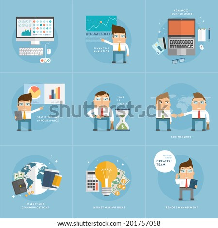 Set of Flat Style Icons for Business Design. Office Workers, Managers and Developers. Advanced Technology and Remote Management Icons. Office Items. World Globe. Financial Analysis and Statistics. - stock vector