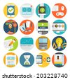 Set of Flat Style Icons. Mobile Phones, Tablet PC and Communication Technologies, Idea Concept with Lamp, Time is Money Icons. Money Management and Online Marketing - stock vector
