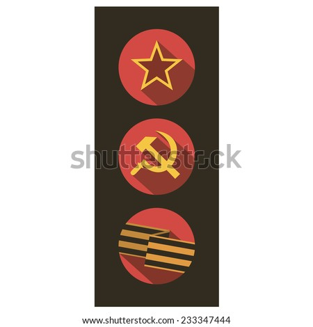 Set of flat style icons of Soviet Union signs. Vector illustration. - stock vector