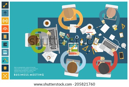Set of Flat Style Illustrations: Office Worker, Business Meeting and Brainstorming, Product Presentation, Development for Business Design. - stock vector