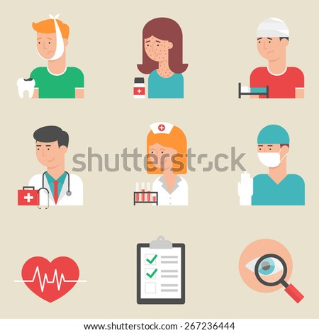 Set of flat style vector medicine icons. Doctors - physician, surgeon, nurse. Patients with toothache, allergy and injury. Medical equipment - stock vector
