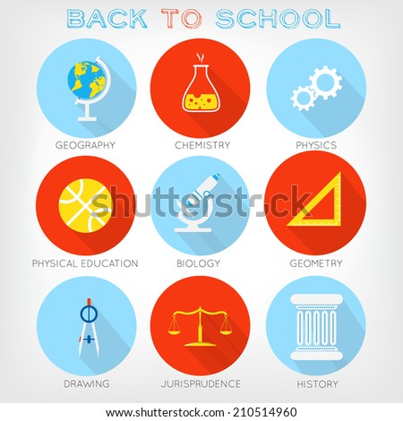 Set of flat-styled icons of school subjects. Geography, chemistry, physics, physical education, biology, drawing, jurisprudence, history, geometry - stock vector