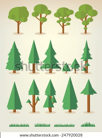 set of flat trees and grass including pine and deciduous trees - stock vector