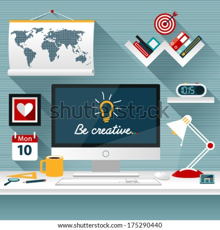 Set of Flat vector design illustration of modern business office  and workspace . Background with long shadows for web. Graphic Design Editable For Your Design.  - stock vector