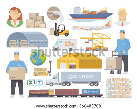 Set of flat vector elements on the theme of Logistics, Warehouse, Freight, Cargo Transportation. Storage of goods, Insurance. Modern flat design. - stock vector