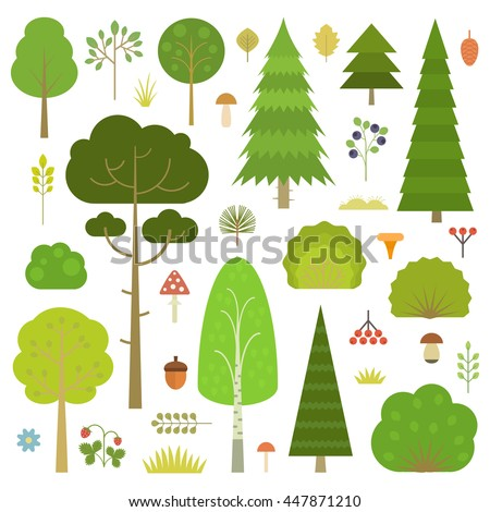 Set of flat vector forest elements: trees, spruce, pine, grass, mushrooms, moss, berries, grass and bushes isolated on transparent background. - stock vector