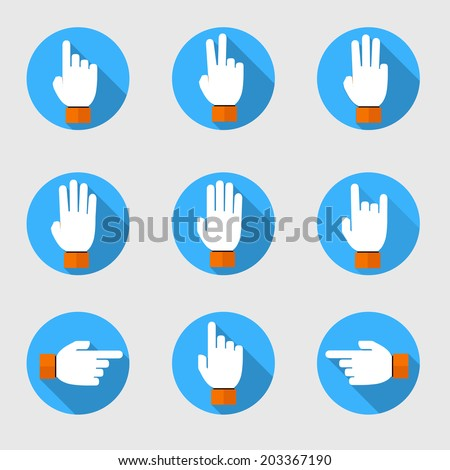 set of flat vector hands make number - stock vector