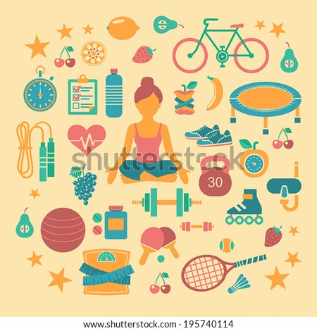 Set of flat vector icons about fitness, sport and yoga. - stock vector