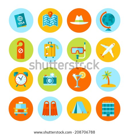 Set of flat vector travel and tourism icons. - stock vector