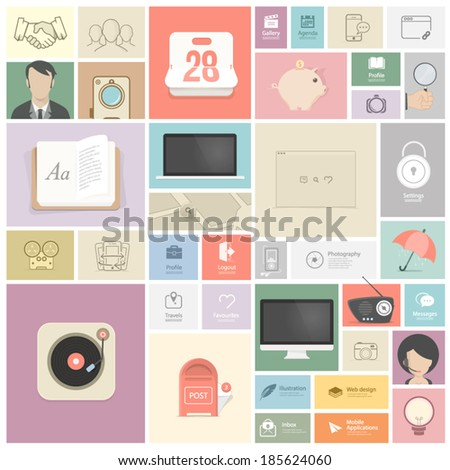 Set of flat vintage elements:  Objects and icons for website, mobile, personal portfolio  and print templates - stock vector