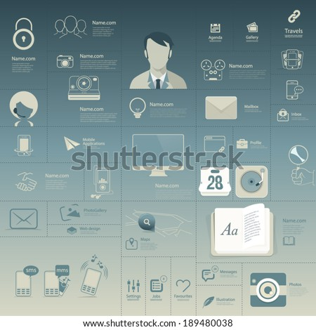 Set of Flat vintage infographics elements with icons for website, mobile and print templates - stock vector