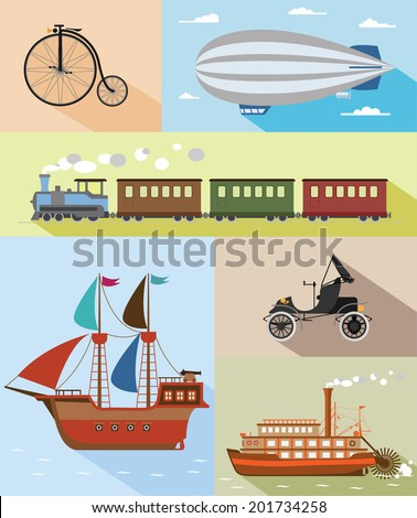 Set of flat vintage transportation icons: bycicle, zeppelin, train, pirat ship, car, steamboat.  - stock vector